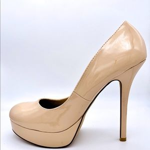 Nude Patent Leather High Heel Stiletto Pumps